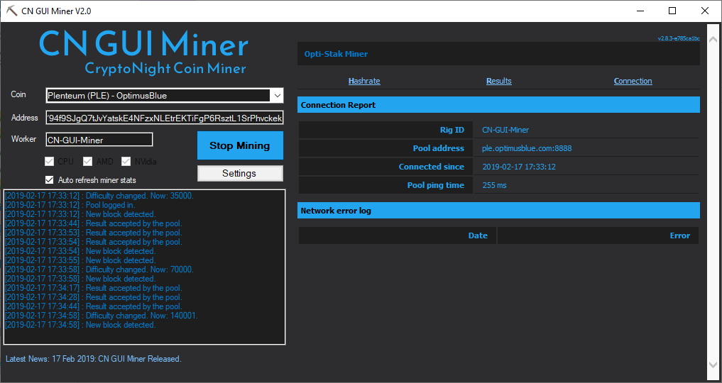 CN GUI Miner - Connection